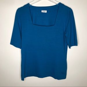 Akris Punto Aqua Jersey Square Neck 1/2 Sleeve Top